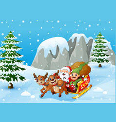 santa claus and elf sliding in the snowing hill vector image