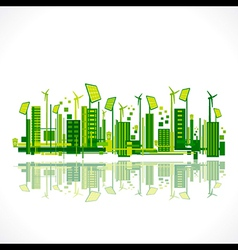 save earth or green city reflection design concept vector image