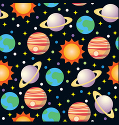 seamless space and planet pattern vector image