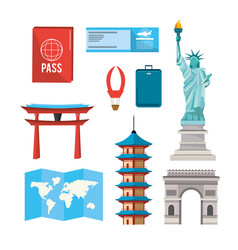 set global towers explore vacation vector image