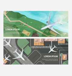 Set horizontal banners with airplanes flying vector