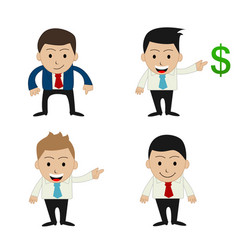 Set of funny cartoon office businessman vector