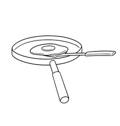 set pan flipper and fried egg vector image