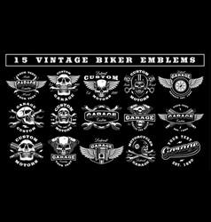 Set vintage biker emblems vector