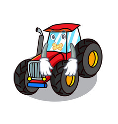 Silent tractor mascot cartoon style vector