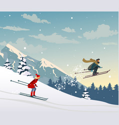skiing in the mountains vector image