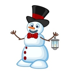 Snowman with a lantern and wearing a hat for your vector image
