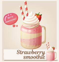 strawberry smoothie dessert icon cartoon vector image