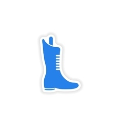 Stylish paper sticker on white background boots vector