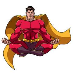 Superhero meditating vector