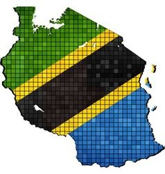 Tanzania map with flag inside vector