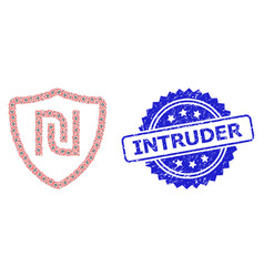Textured intruder seal and recursion shekel shield vector