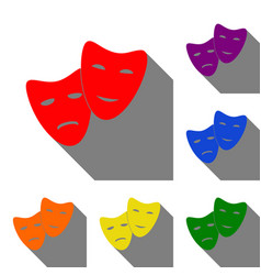 theater icon with happy and sad masks set of red vector image