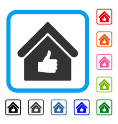 Thumb up building framed icon vector
