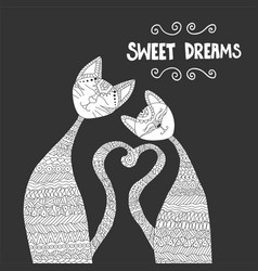 Two cats in love antistress coloring book hand vector