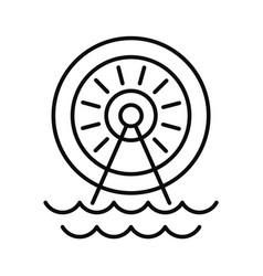 water energy wheel icon outline style vector image