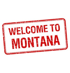 welcome to Montana red grunge square stamp vector image