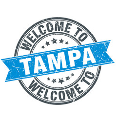 Welcome to tampa blue round vintage stamp vector