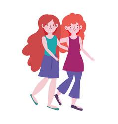 women character hugging walking cartoon design vector image