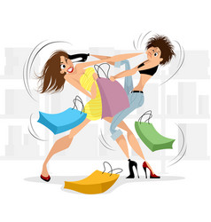 women fighting in the store vector image