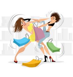 Women fighting in the store vector