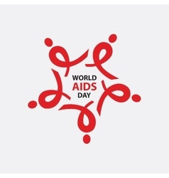WORLD AIDS DAY AIDS ribbon arranged as a star vector image