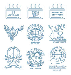 World peace day line icon set vector