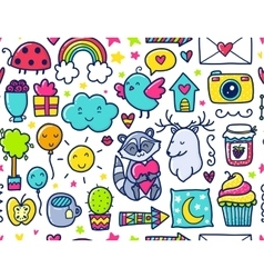 Doodles cute seamless pattern vector