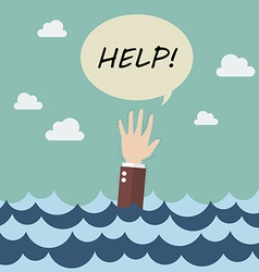 Drowning businessman in sea vector image vector image