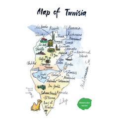 map of tunisia watercolor vector image