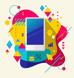 Mobile phone on abstract colorful spotted vector image