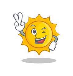 two finger cute sun character cartoon vector image