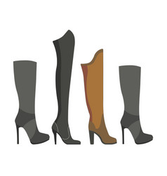 womens leather and suede boots on high heels vector image vector image