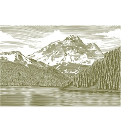 Woodcut Landscape with Mountain vector image vector image