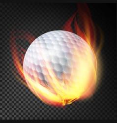 Golf ball on fire burning style vector