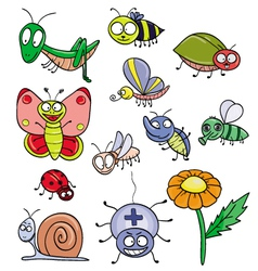 Insects doodle set vector image vector image