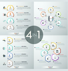 Set of 4 infographic design templates vector