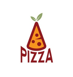 slice of pizza with leaves design template vector image vector image