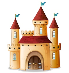 A castle with three blue flags vector image