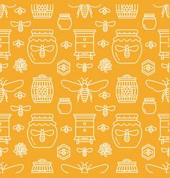 beekeeping seamless pattern orange color vector image vector image