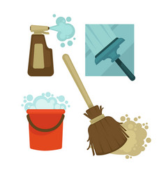 cleaning equipment and chemical means isolated vector image vector image
