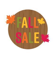 fall sale circle wood banner sign vector image