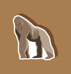gorilla paper sticker on stylish background vector image vector image
