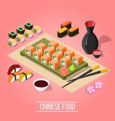 isometric sushi bar background vector image
