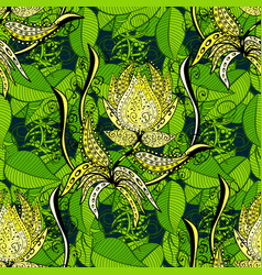 on green leaves background 3d flowers seamless vector image