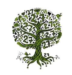 Tree 27 with roots zentangle for your design vector image