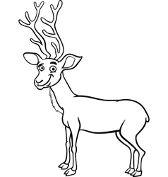 wapiti deer cartoon coloring page vector image