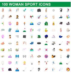 100 woman sport icons set cartoon style vector image