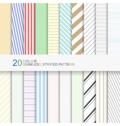 20 color seamless striped patterns vector image vector image