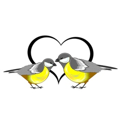 A couple of birds titmice with a heart vector image